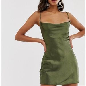 ASOS GREEN SLIP DRESS